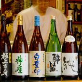 地酒、焼酎も店主こだわりのものを豊富にそろえております。