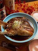 天然鯛のあら煮。甘辛い感じで大人気メニューの一つです。