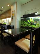 大きな水槽が印象的なテーブル席