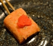 豆腐の中に明太子、木耳、お野菜を練りこんで作りました。