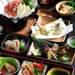 薩摩富士コーに紙鍋をプラス。郷土料理のゆべしからデザートまで10品です。「接待」「会食」にもお勧めです