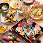 四季折々の食材を使用した本格和食による寿司会席。月替わりで旬の食材を手作りにてご提供しております。