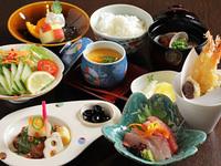 お刺身、天ぷら、小鉢、サラダ、茶碗蒸し、お新香、ご飯、みそ汁、コーヒー付