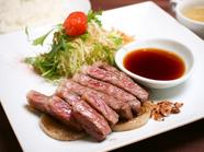 あわじ玉卵(たまらん)牛ステーキ丼(サラダ・スープ付)並