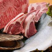 天然の魚介、厳選のお肉