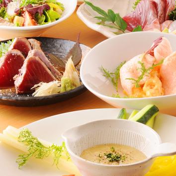 2.5時間飲み放題付き 旬魚の塩タタキコース 5000円 (要予約)