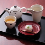 煎茶 + 和菓子