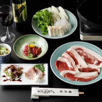 【人気】 猪鍋一皿とお料理(二品)セット 6000円