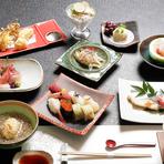 刺身、焼物、揚物、蒸し物、酢の物、煮物、中鉢、にぎり寿司、デザート