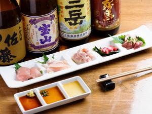新鮮な鶏の刺身を楽しめる『播州地鶏の5種盛』