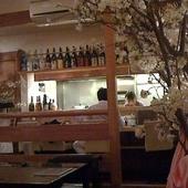 店内で満開の桜を見ながらおいしい手作り和食とお酒でほっこり