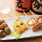 野菜たっぷり鶏つくね串・玉子トロトロうまき串・えびパン串