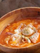海の幸のピリ辛トマトスープパスタ
