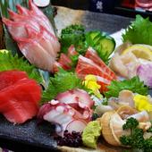 5種類ほどの新鮮な食材を使った『お刺身盛り合わせ』一人前