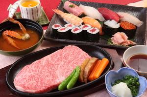 当地自慢の飛騨牛ステーキと寿司、グルメも満足する『飛騨牛会席コース』
