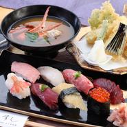 ◆その日のおすすめ8貫 ◆天ぷらの盛り合わせ ◆茶碗蒸し ◆カニ汁
