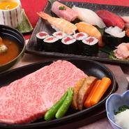 ・お寿司8貫 ・飛騨牛ステーキ 100g ・蟹の味噌汁 ・デザート(手作り飛騨牛乳プリン)