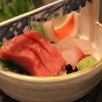 お造里 静岡、焼津から 本日のお魚2種 土佐醤油にて
