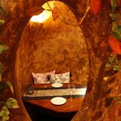 木の中に包まれた空間は、ふたりだけの世界