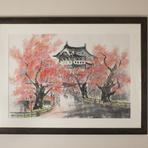 店主作の墨彩画も飾られています(弘前城と桜)