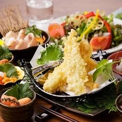 豪華絢爛!「美桜鶏の天麩羅 ~黒トリュフ塩~」など贅沢な食材をご堪能いただけるコースです!