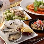 和洋ジャンルにとらわれず、季節の食材を使った料理を週替わりでご用意しております。旬の魚介類や野菜など、その時期ならではの味わいを、存分にご堪能ください。