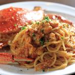 新鮮なワタリ蟹使用。旨味をたっぷりと引き出した極みの一皿を召し上がれ。