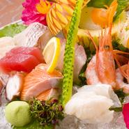 イカ・カンパチ・まぐろなど、季節の鮮魚活魚をお楽しみ下さい。
