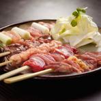 鶏肉・豚肉・魚介など様々な素材の串焼きを一度に楽しめる『串10本盛』。お得なのはもちろん、色々な味を試してみたいという方にピッタリな一品です。 (画像は串5本盛です)
