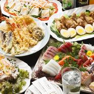 ローズポークの冷しゃぶや刺身の盛り合せなど、料理をたっぷりと召し上がっていただけるお得なコースです。