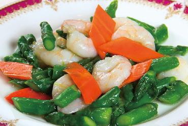 上海の代表料理『車海老の上海風塩炒め』