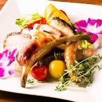 黒豚と季節の有機野菜盛り合わせ