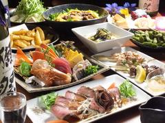 和牛と刺身付メイン料理が選べる1番人気のコース! 飲み放題なしの場合は2500円。