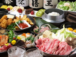 メイン料理は唐黍牛を使ったすき焼き+鮮魚5種盛り合わせのコース! 飲み放題なしの場合は3500円。