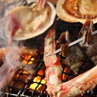 魚貝、お肉、野菜など、豪快に炭火で焼いてお召し上がり下さい。