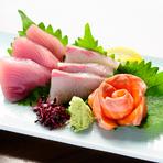 錦市場で仕入れる鮮魚の造り『三種盛り』