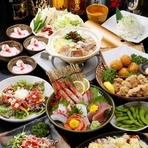 宴会コース料理では、鮮度の高い刺身から、店主が自信を持ってつくる創作料理がいろいろ楽しめます。予算、人数に合わせて料理は調整できます。