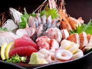 旬の魚介満載の『刺身盛り合わせ』