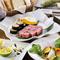 【天元Aコース】パン/本日のお通し/創作料理2品/ステーキ/旬の焼き野菜/ガーリックロール/デザート