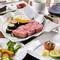 【天元Bコース】パン/本日のお通し/創作料理3品/ステーキ/旬の焼き野菜/ガーリックロール/デザート