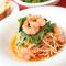 ・炙り筍とズワイガニ・水菜のペペロンチーノ 生パスタ