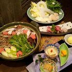 久保田の年1回季節限定酒「久保田 生原酒」と、他 二種の利き酒付き季節限定蟹鍋付きコース。