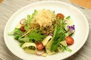 濃厚な豆腐とあられ煎餅が新食感の一押しサラダ 胡麻ドレッシング