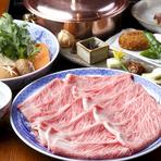 一枚一枚のお肉が、とっても大きい事に驚きます。これは、生れてから30ヵ月以上大事に育てた大きな伊勢牛だからこそ。シンプルなしゃぶしゃぶは、伝統のゴマダレが美味しさを引き立て、お肉の旨みを満喫できる逸品。