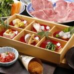 先附、前菜、温物、赤身もも肉鉄鍋焼、特選ロースすき焼、ご飯、赤出汁、香物、甘味
