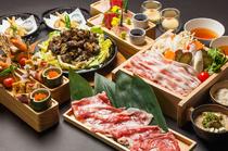 宮崎県産地鶏ぶり鶏・福ちゃんポーク・宮崎牛の3種のお肉が楽し