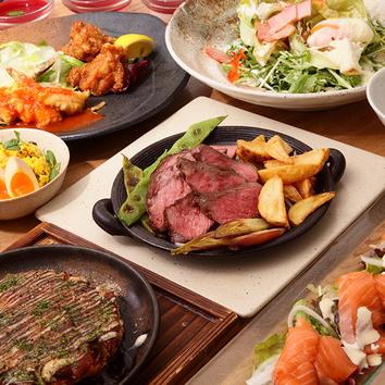 鉄板牛ハラミと牛肩ロースステーキの「市場ステーキコース」