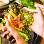 銘柄肉を野菜で包む醍醐味。バランスを考えた健康的なメニュー