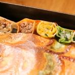 大山鶏と秋栗の揚げ餃子 甘辛黒酢あんかけソース