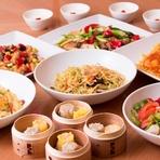 五目野菜炒め、もやしと黄ニラ炒めなどお野菜中心でそろえた全7品の精進料理のコース。